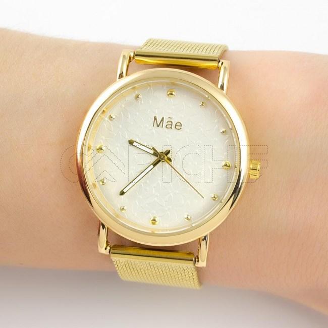 Relógio Mãe Flores dourado