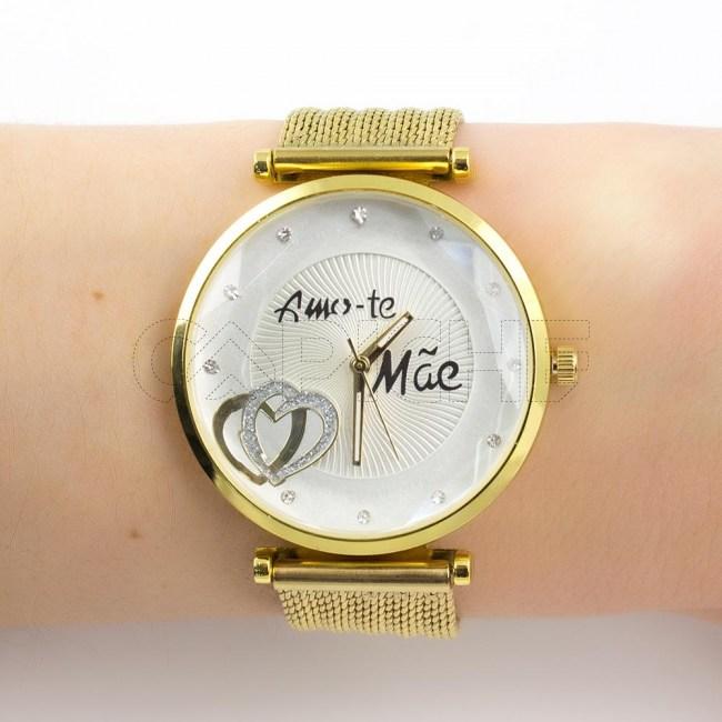Relógio Amo-te Mãe dourado
