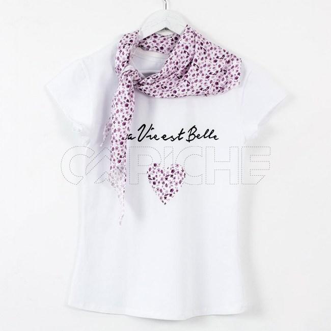 T-Shirt Lenço  Flor Rosa