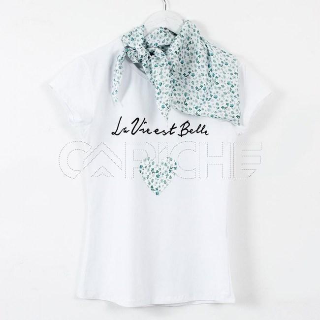 T-Shirt Lenço Flor Verde