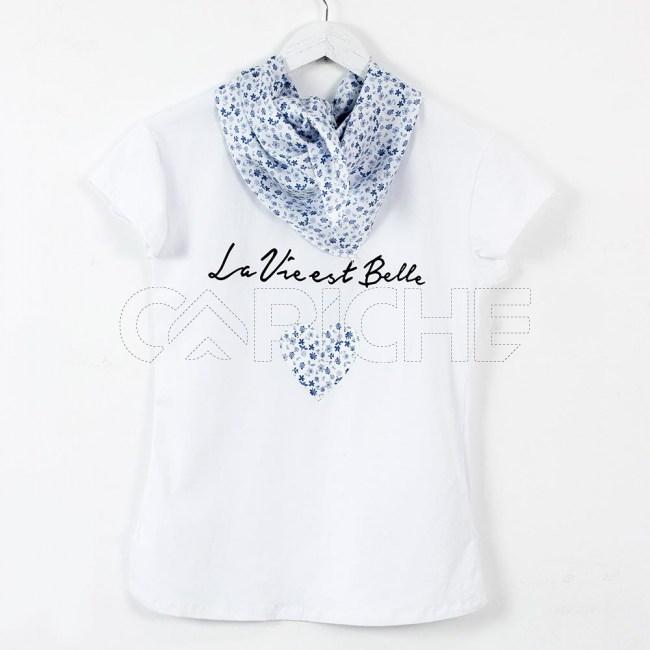 T-Shirt Lenço Flor azul