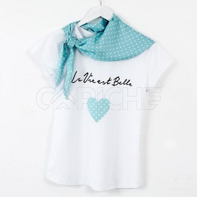 T-Shirt Lenço Pinta azul
