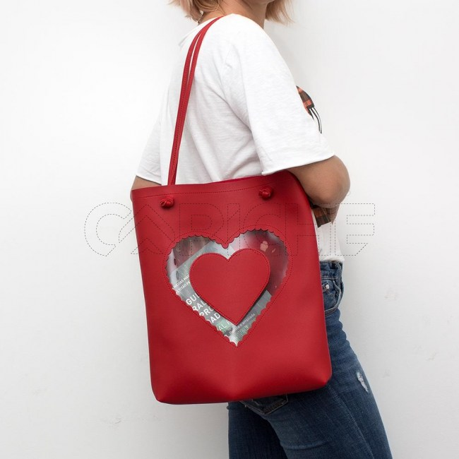 Mala Coração vermelho