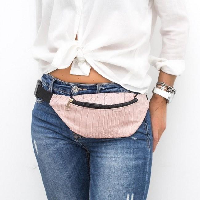Mala de cintura Croc rosa